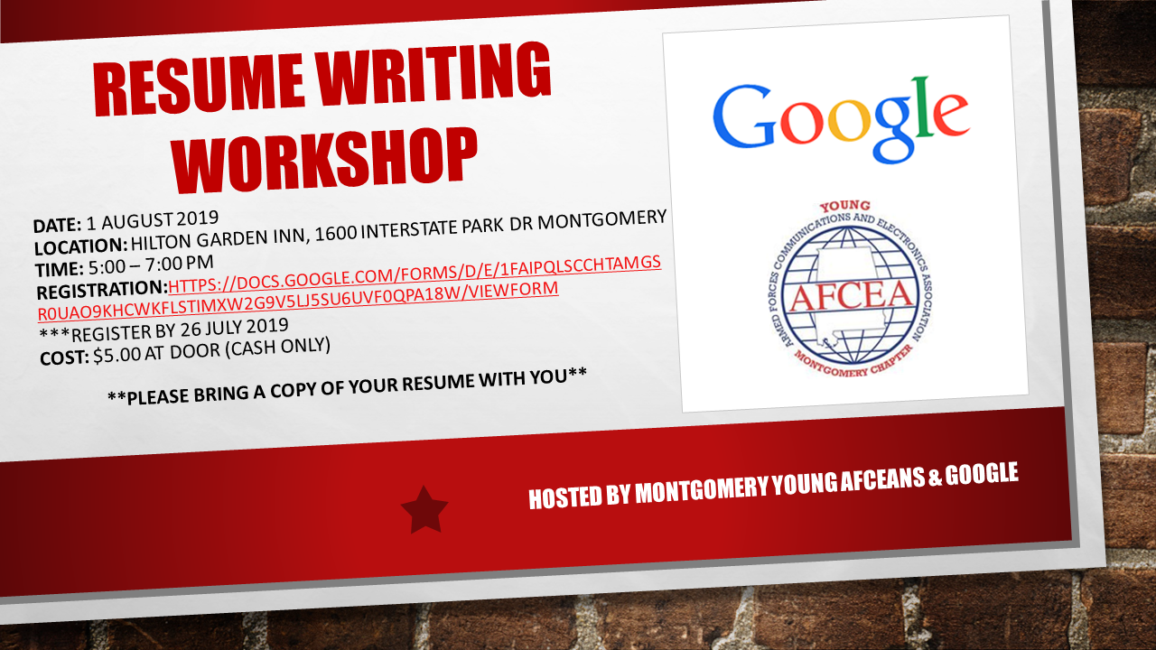 Montgomery Afcea Chapter Resume Writing Workshop
